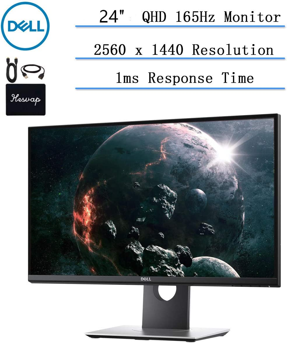 """2020 Newest Dell 24"""" WQHD 165Hz Gaming Monitor for Business and Student, Anti-Glare (2560 x 1440), 16.7, VGA, HDMI, 165Hz, 1ms, 16:9 Aspect Ratio, Nvidia G-Sync Technology, w/HESVAP Accessories"""