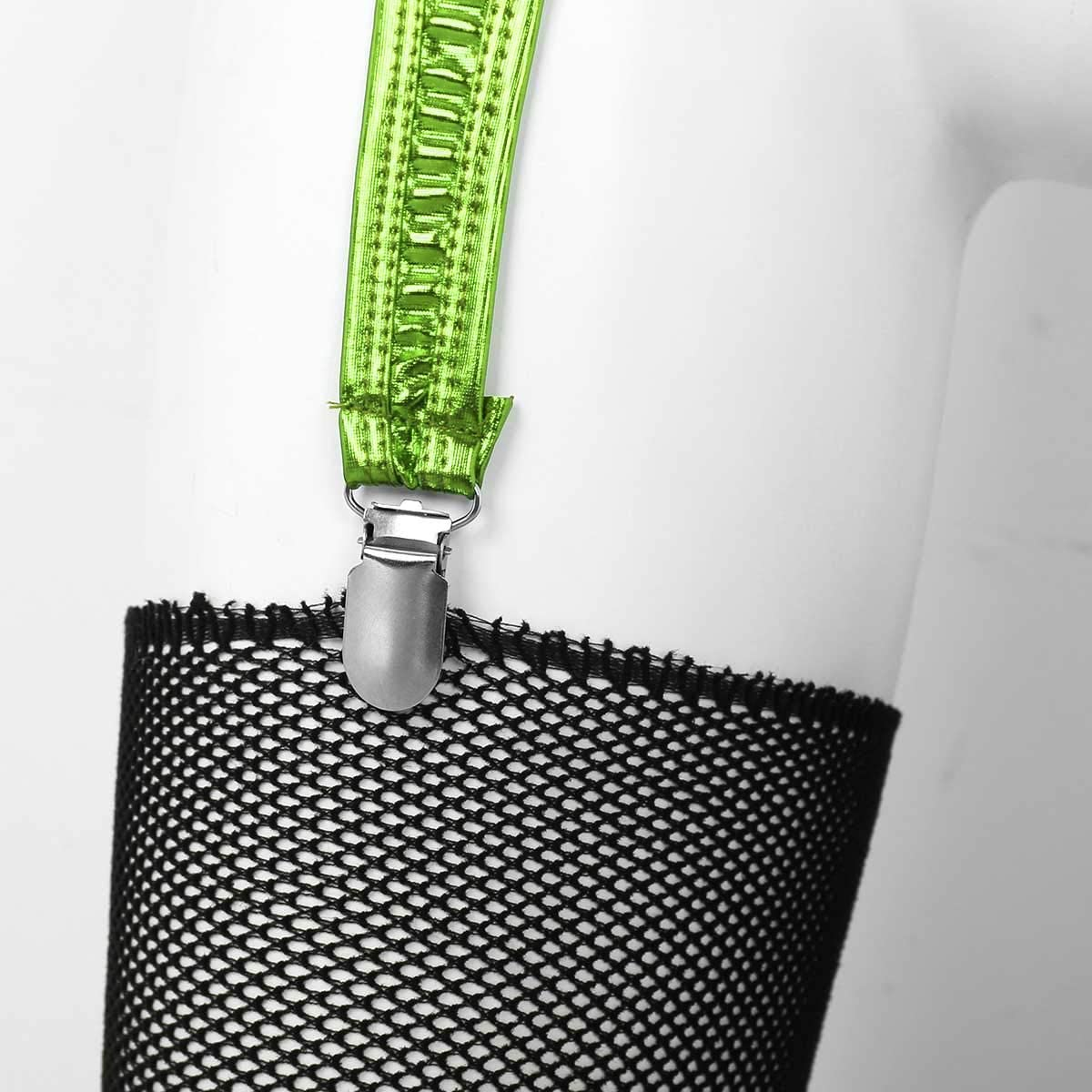YiZYiF Damen Metallischer Strumpfg/ürtel Strapsg/ürtel Wetlook Dessous Strumpfhalter mit 4 Metall Clips Strapsband Reizw/äsche