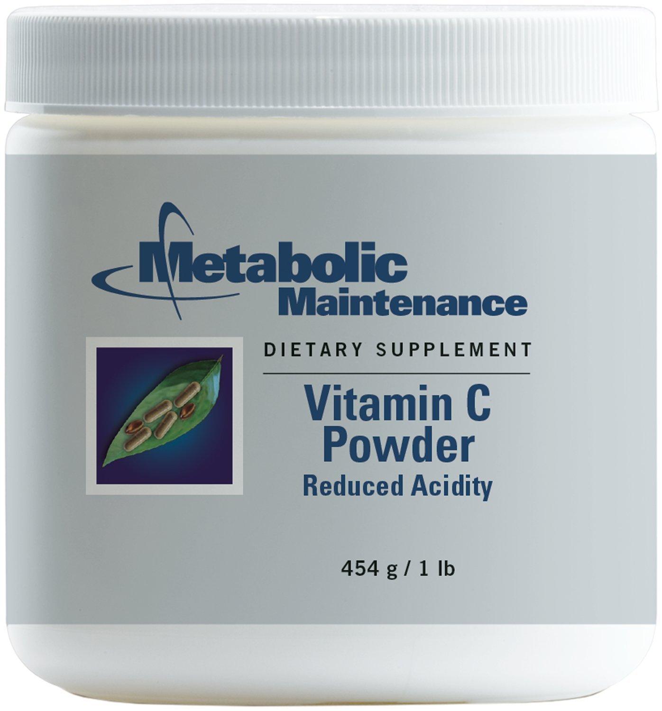 Metabolic Maintenance - Vitamin C Powder Reduced Acidity - 1000 mg, High Purity + Reduced pH, 454 Servings, 1 lb