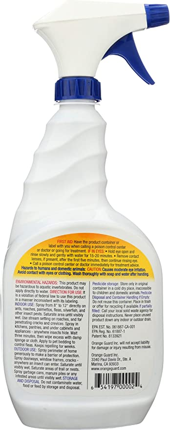 Amazon Com Orange Guard Home Pest Control Spray Kills And Repels Ants Roaches Fleas And More Water Based Indoor Outdoor Natural Organic Formula 32 Fl Oz Home Pest Repellents Garden Outdoor