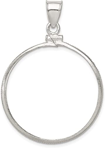 Sterling Silver 30.6 mm Coin Bezel Frame Mount for Silver Half Dollar Coin