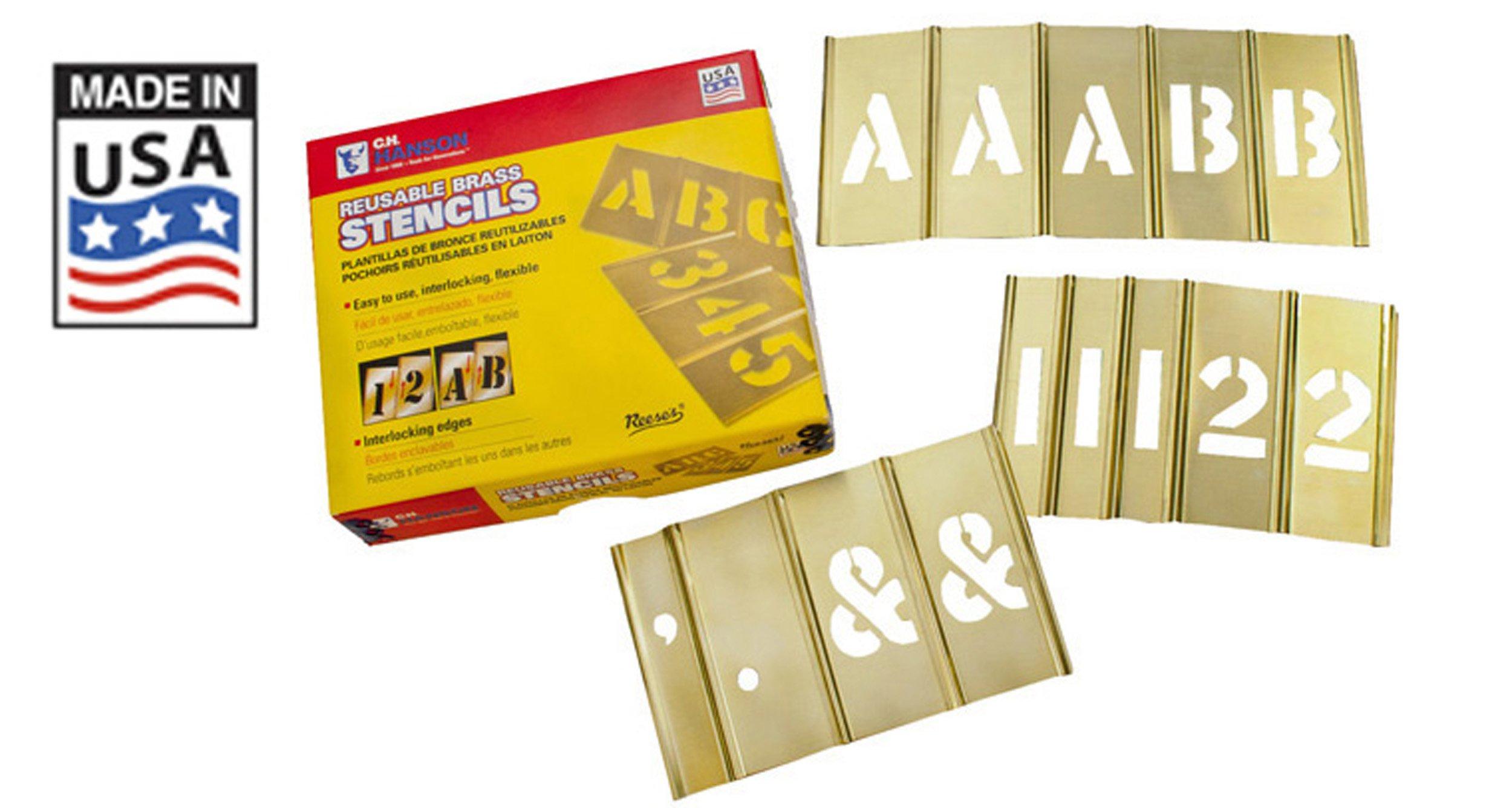 CH Hanson 10155 92 Piece 5'' Brass Interlocking Stencils Letters & Numbers Set