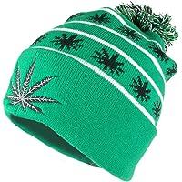 Armycrew Marijuana Leafs Pom Pom Acrylic Beanie Hat