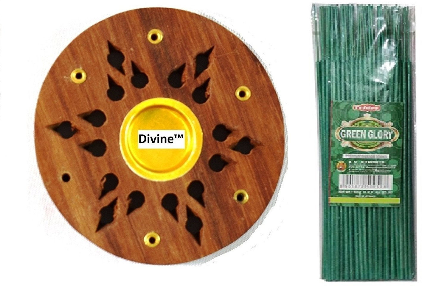 Divine Incense Holder Free With Tridev Green Glory Metallic Coloured Fragranced Premium Incense Sticks Agarbatti 1 KG Pack | 10 Packs of 100 Grams | Export Quality by Divine