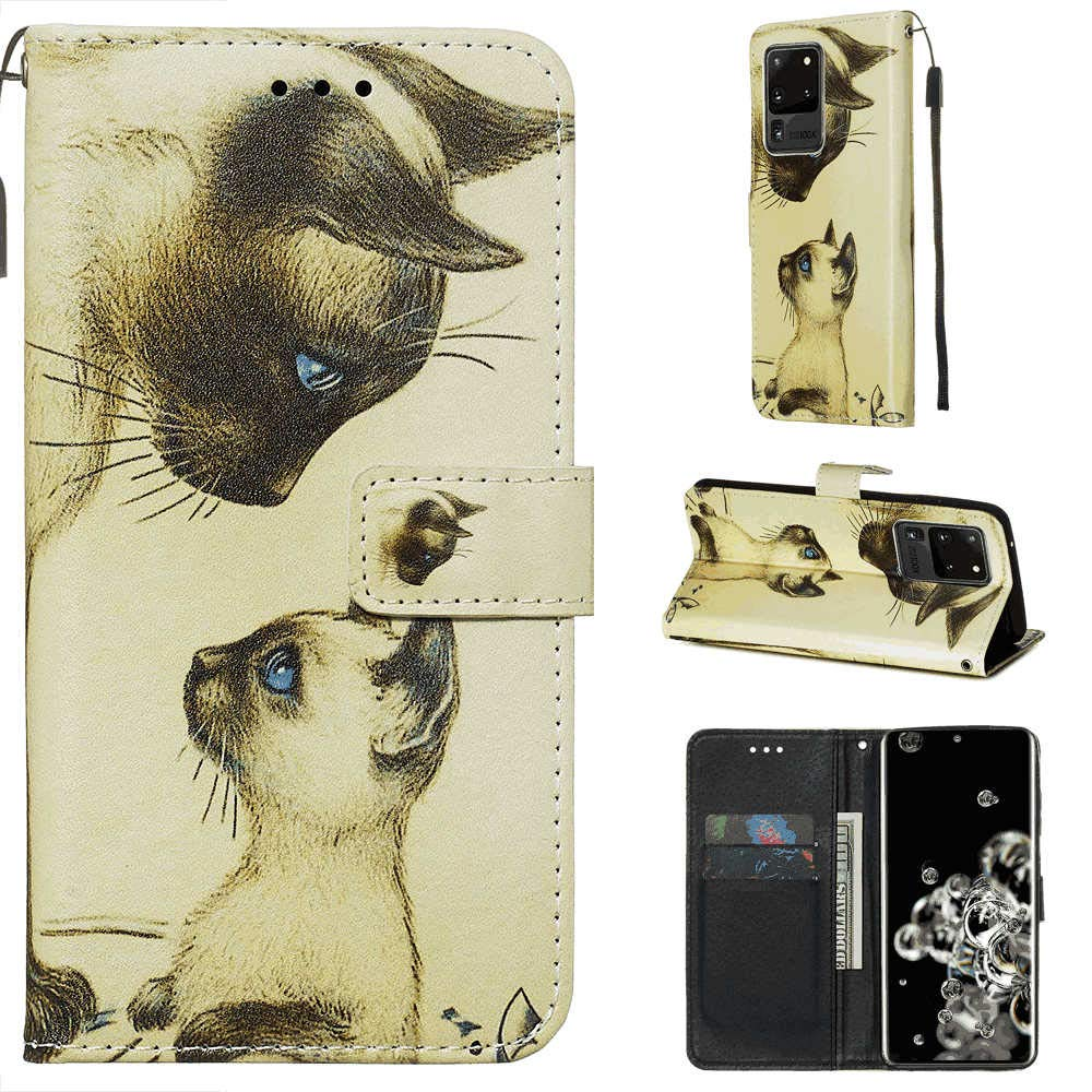 Positive Cover Compatible with iPhone Xs cat PU Leather Wallet Flip Case for iPhone Xs