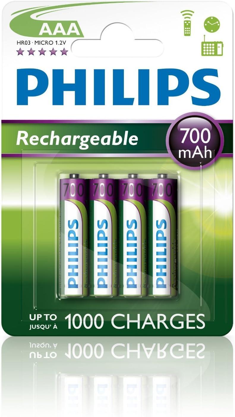 Philips R03B4A70/10 - Pack de 4 pilas recargables (NiMh, AAA): Amazon.es: Electrónica