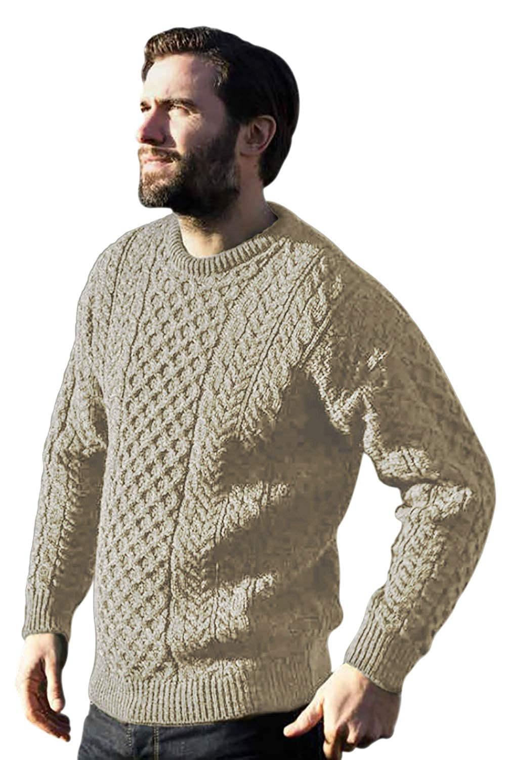 Traditional Wool Crew Neck Aran Sweater (XLarge, Oatmeal) Aran Woollen Mills