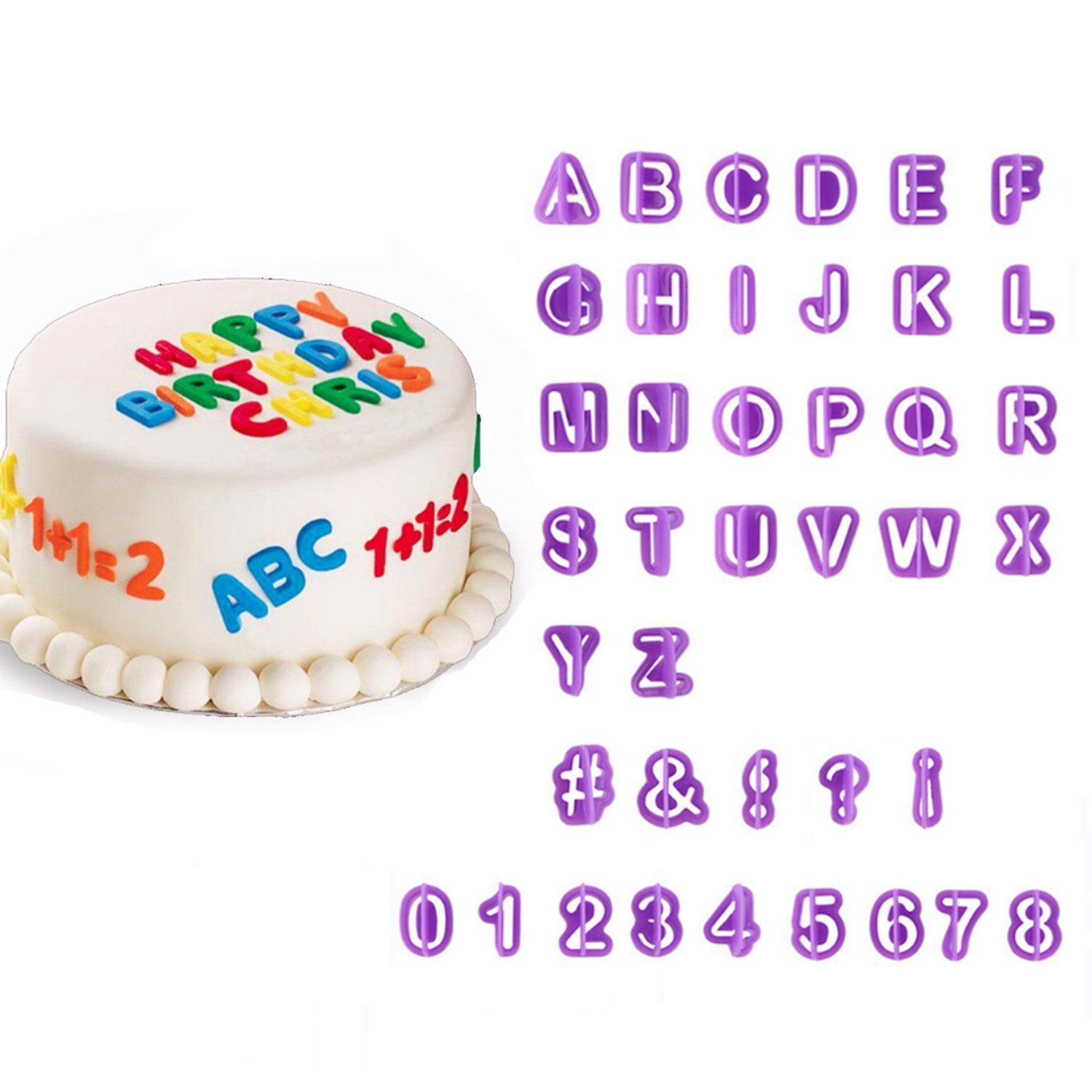 amazon com 40pcs alphabet number letter fondant cake decorating set