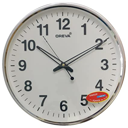 Oreva Ajanta Silent Movement (32 cm X 32 cm) Plastic Round Shape Wall Clock For Home And Office (White) - 168
