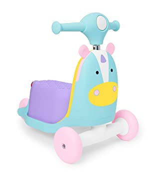 Skip Hop Kids 3-in-1 Unicorn Ride-On Scooter and Wagon Toy