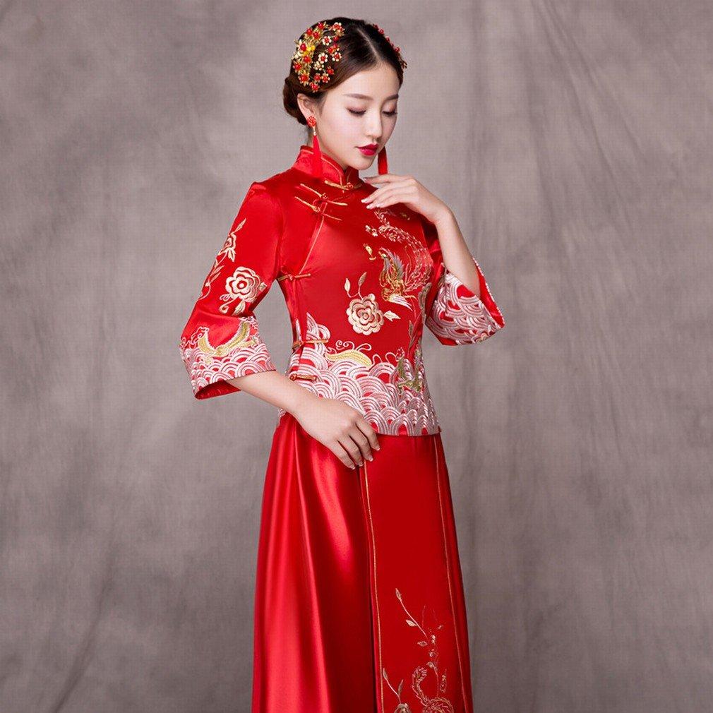 Xiu Wo Novia Gorda Mm Tama?o Grande Mujeres Embarazadas Tostadas de Cintura Alta Chino Vestido de Novia Rojo Cheongsam,UN,L: Amazon.es: Hogar
