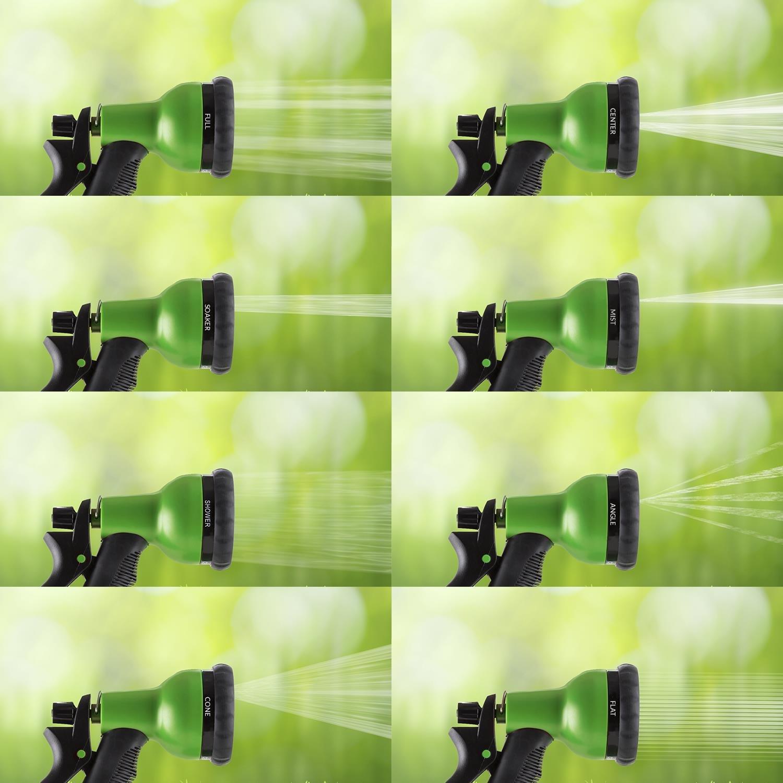 Waldbeck Water Wizard 15 /• Flexibler Gartenschlauch /• Wasserschlauch /• Flexschlauch /• Bew/ässerung /• 8 Funktionen /• dehnbar bis 15m /• Spr/ühbrause /• selbstaufrollend /• knickfest /• federleicht /•