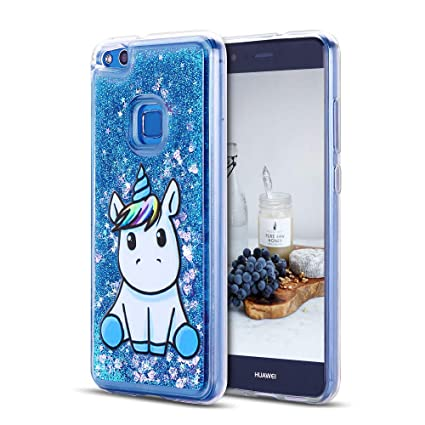 Caselover Funda Huawei P10 Lite, 3D Bling Silicona TPU Arena Movediza Lentejuelas Carcasa para Huawei P10 Lite Suave Bumper Case Cover - Azul