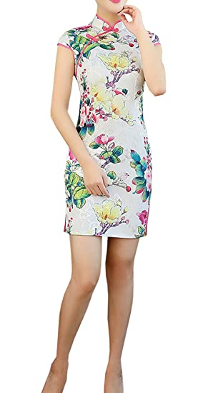 XueXian(TM) Womens Summer Slim Fit Ladies Cotton Evening Prom Dresses QiPao Short (