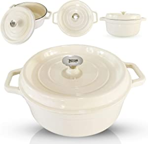 6-Quart Enameled Cast Iron Dutch Oven - Even Heat Distribution and Retention, Easy to Clean Surface, Pre-seasoned Cast Iron Enameled Cookware, Healthy Cooking, Oystery White