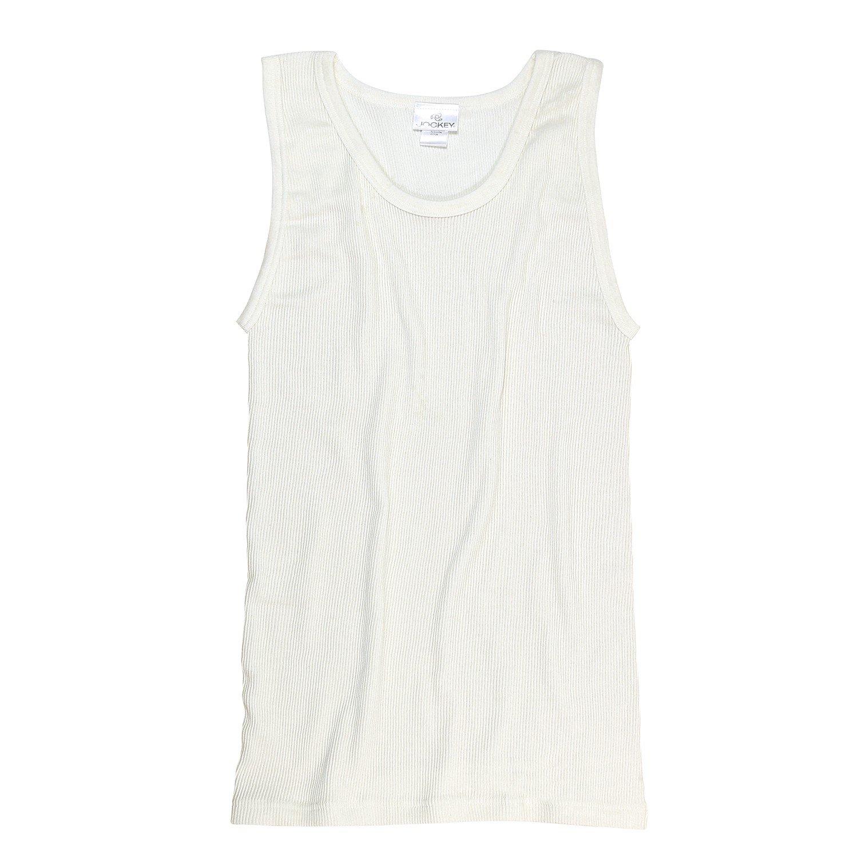 Blanco Acanalado doble Camiseta sin mangas de JOCKEY Hasta Talla 5XL