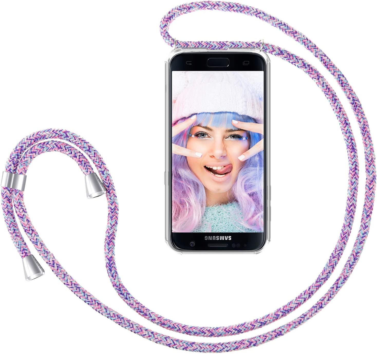 ZhinkArts Crossbody Phone Case for Samsung Galaxy S7 Smartphone Necklace Case with Strap Neck Holder in Unicorn Phone Cover with Neckstrap