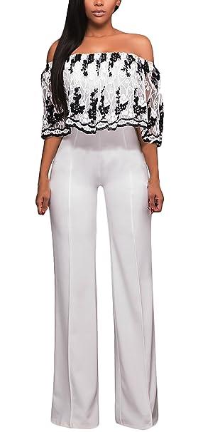 Battercake Monos De Vestir Mujer Fiesta Largos Verano Moda Vintage Bordadas De Flores Casuales Mujeres Jumpsuit Elegantes Sin Hombro Talle Alto Slim Monos ...