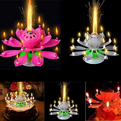 Brown Leaf Musical Lotus Flower Rotating Happy Birthday Candle With 9 Small Candles