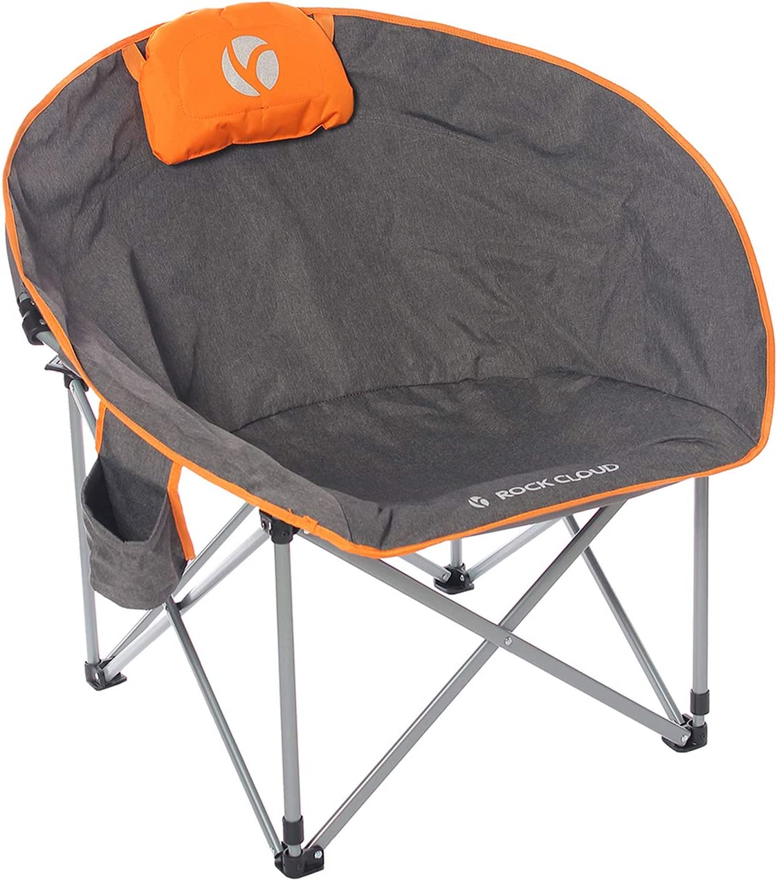 Rock Cloud Folding Camping Chair Oversized Padded Moon Round Saucer Chairs Outdoor for Camp Lawn Hiking Fishing Sports, Grey