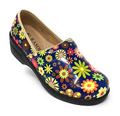 0cb5bea5fa Rasolli Women's Professional Closed Back Clogs, Flower Power, Blue, Size 7.0