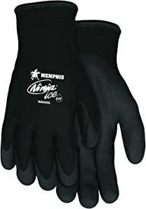 Memphis Glove N9690M Ninja Ice 15 Gauge Black Nylon Cold Weather Glove, Acrylic Terry Inner, HPT Palm and Fingertips, Medium, 1 Pair