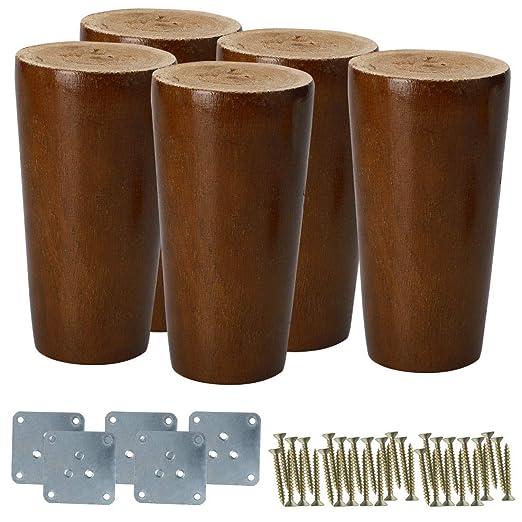 Uxcell patas redondas de madera maciza para muebles, sofás ...