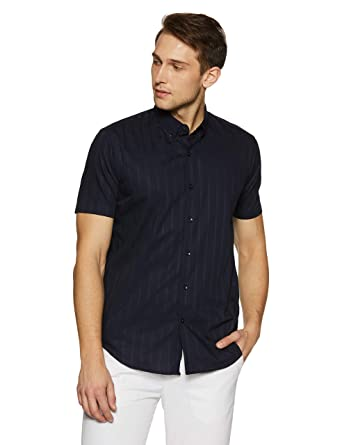 16ad070794 Casual Terrains Men's Hipster Satin Finish Tailored Slim-Fit Short-Sleeve  Dress Shirt Small