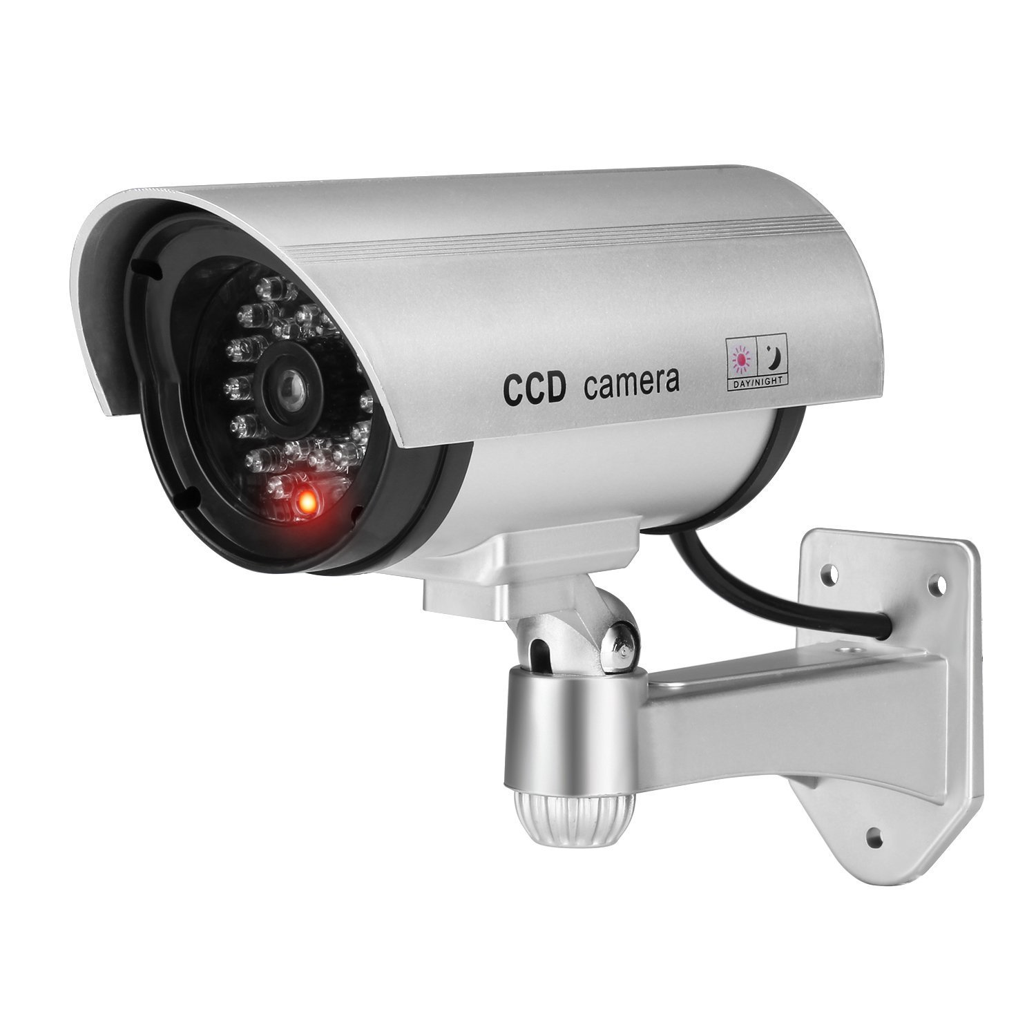 Dummy Security Camera Wireless, Fake Camera CCTV Surveillance System with Realistic Red Flashing Lights and Warning Sticker (1,Silver) by Equay