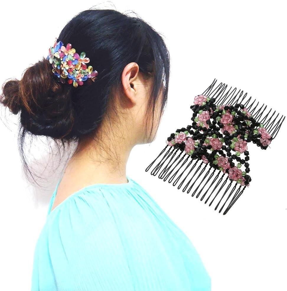 Peignes /à cheveux extensibles en forme de fleur vintage double magique en m/étal blanc