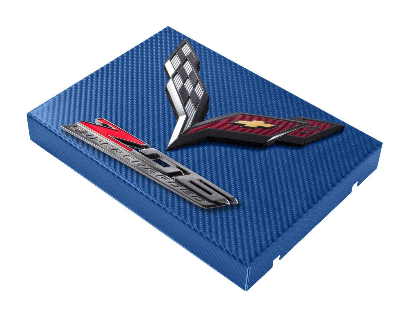 C7 Corvette Blue Carbon Fiber Wrapped Fuse Box Cover Black Flags /& Z06