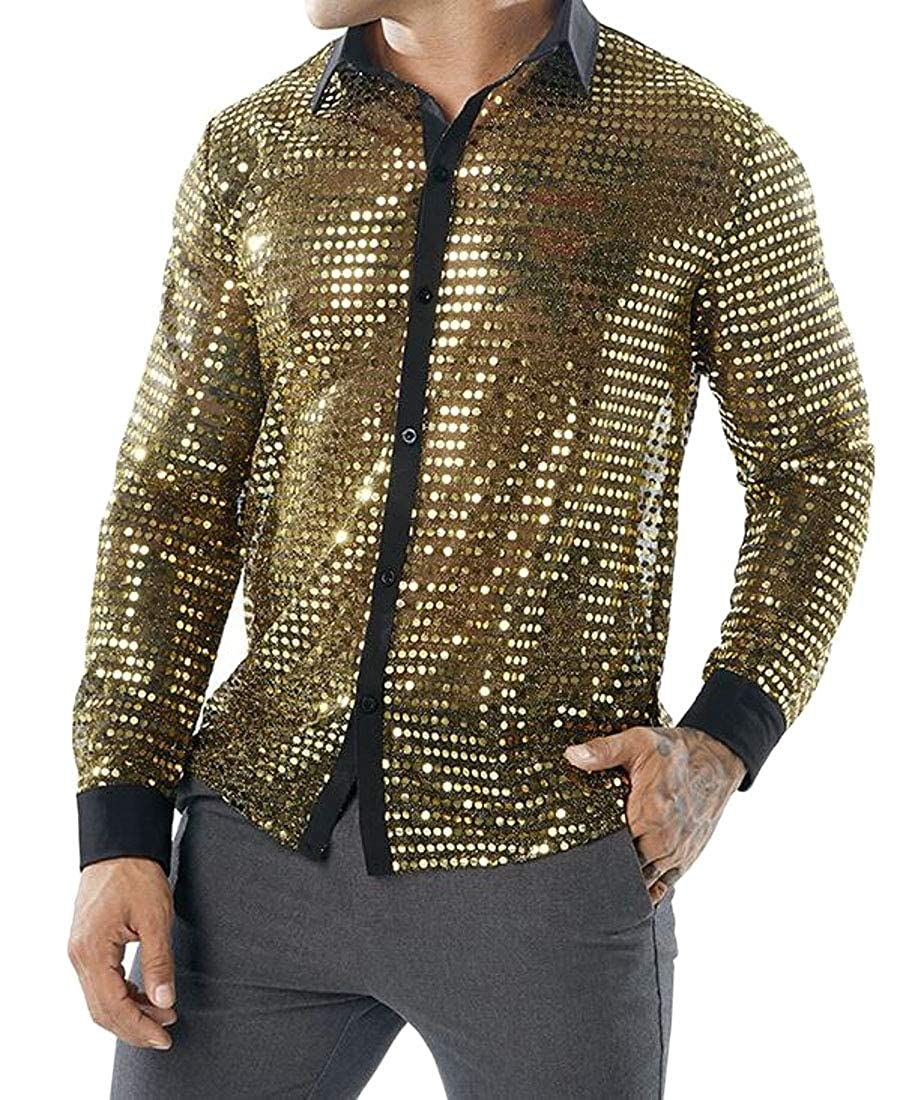 GRMO Men Long Sleeve Sequins Plus Size Glitter Night Club T-Shirt Tops