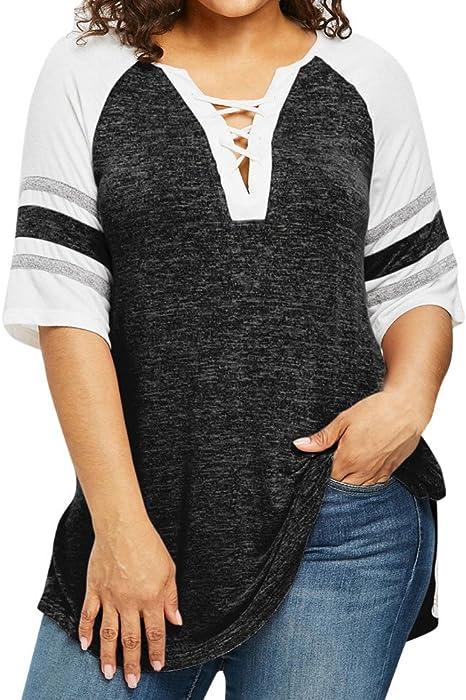 Yusealia Camisetas Para Mujer Tallas Grandes Blusa Sexy Mujer De Verano Blusa De Manga Corta Vendaje Del Remiendo Mujer Camisas Fiesta Camiseta Tops Blusa Amazon Es Deportes Y Aire Libre