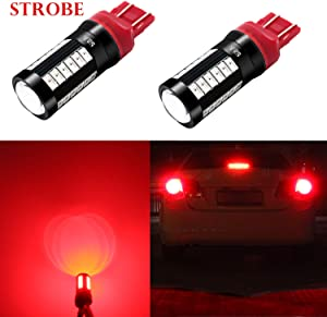 Alla Lighting T20 7440 7443 LED Flash Brake Lights Bulbs 2800 Lumens Xtreme Super Bright 12V 5730 33-SMD Car Truck Red Strobe Flashing Stop Light Replacement 7441 7444 7443LL 7440LL W21W
