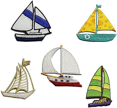 5 pc bordado barco hierro en parche insignia bolsa gorro pantalones Applique velero pegatinas: Amazon.es: Hogar