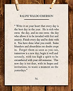 """""""Write It On Your Heart""""- Ralph Waldo Emerson Poem Page Print- 8 x 10"""" Poetic Wall Art. Distressed Parchment Print-Ready To Frame. Retro Home-Office-Study-School Decor. Great Art Gift for Poetry Fans."""
