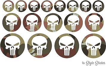 Punisher 10 Aufkleber Tarn Look The Punischer Sticker Bundeswehr Style Skull Decal Motorrad Sticker Mx Reiniger Auto