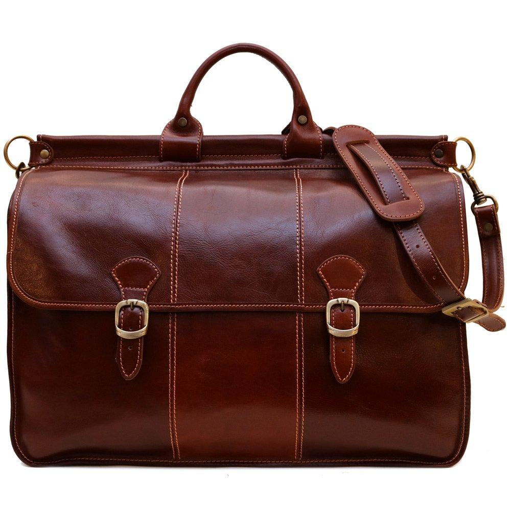 Vaggo Duffle Travel Bag in Brown Full Grain Leather