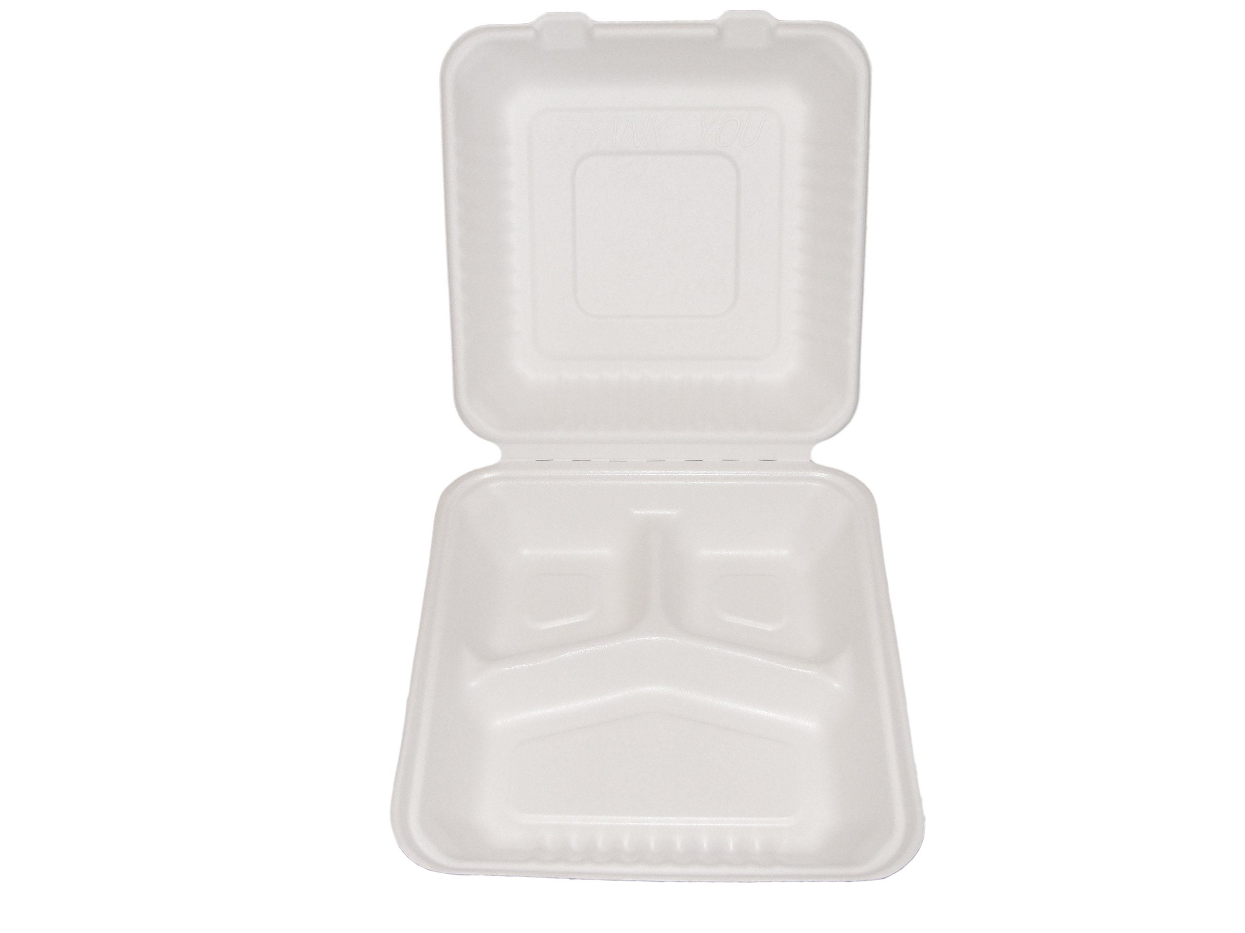 Primeware Bagasse Hinged Lid Container, Large 3-Section 9 x 3.19''-PLA Lined - 160/Cs (2 x 80), Not Applicable