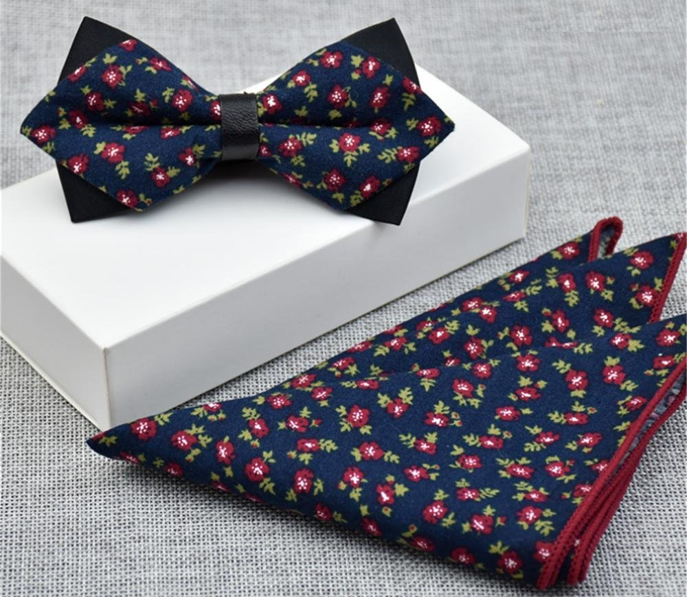 Mens Cotton Floral Bow Tie and Pocket Square Set For Suits