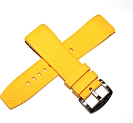 Swiss Legend 26MM Yellow Silicone Watch Strap & Silver Stainless Buckle fits 47mm Sprinter Watch