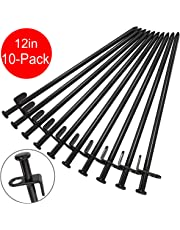 BareFour Tent Stakes, Heavy Duty Camping Stakes 12-Inch/8-Inch- Forged Steel Tent Pegs Unbreakable and Inflexible Available in Rocky Place Dessert Snowfield and Grassland(10-Pack)