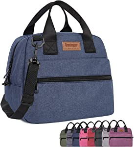 Buringer Insulated Lunch Bag Box Cooler Totes Handbag with Pockets and Removable Adjustable Shoulder Strap For Man Woman Work Shopping (Blue with Shoulder Strap)