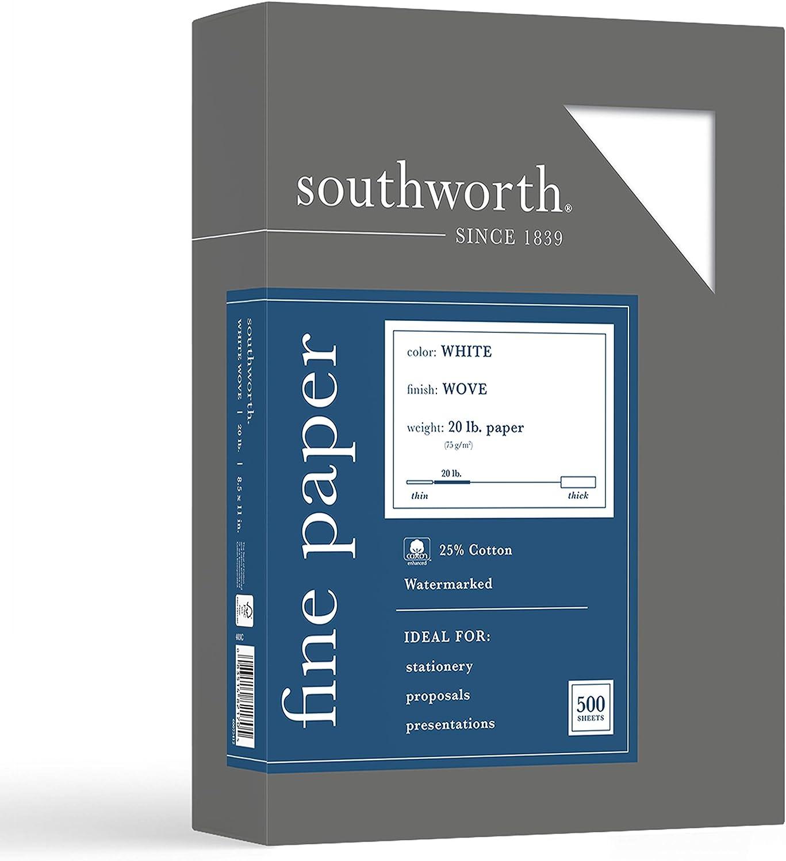 Southworth Fine Business Paper, 20.05 Cotton, 20 lb , White,500 Sheets (403C)