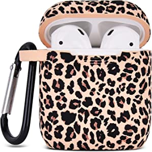 Airpod Case AIRSPO Airpods Case Cover for Apple AirPods 2&1 Cute Airpod Case for Girls Silicone Protective Skin Airpods Accessories with Keychain (Khaki/Leopard)