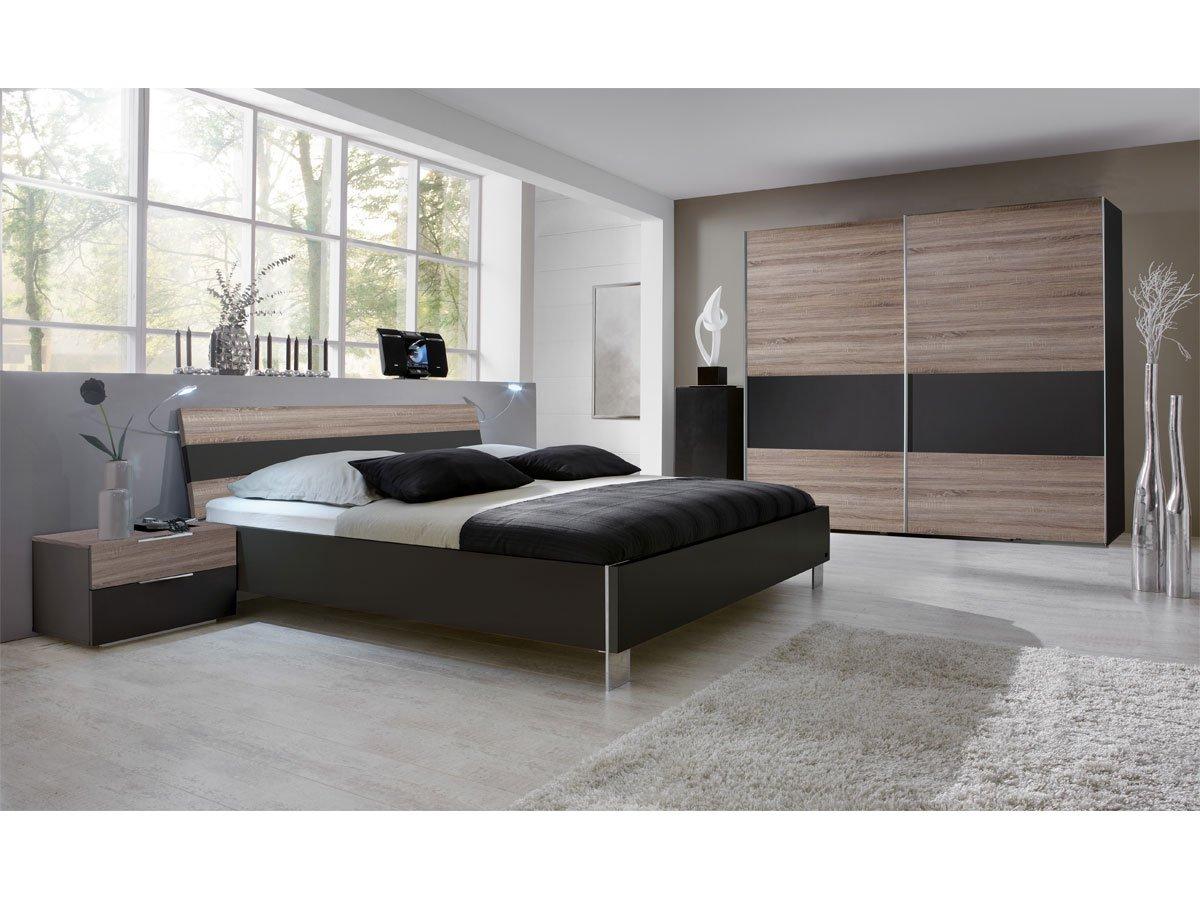 LEILA Komplett-Schlafzimmer, Montana Eiche/Lavagrau, 140x200 cm, 200 ...