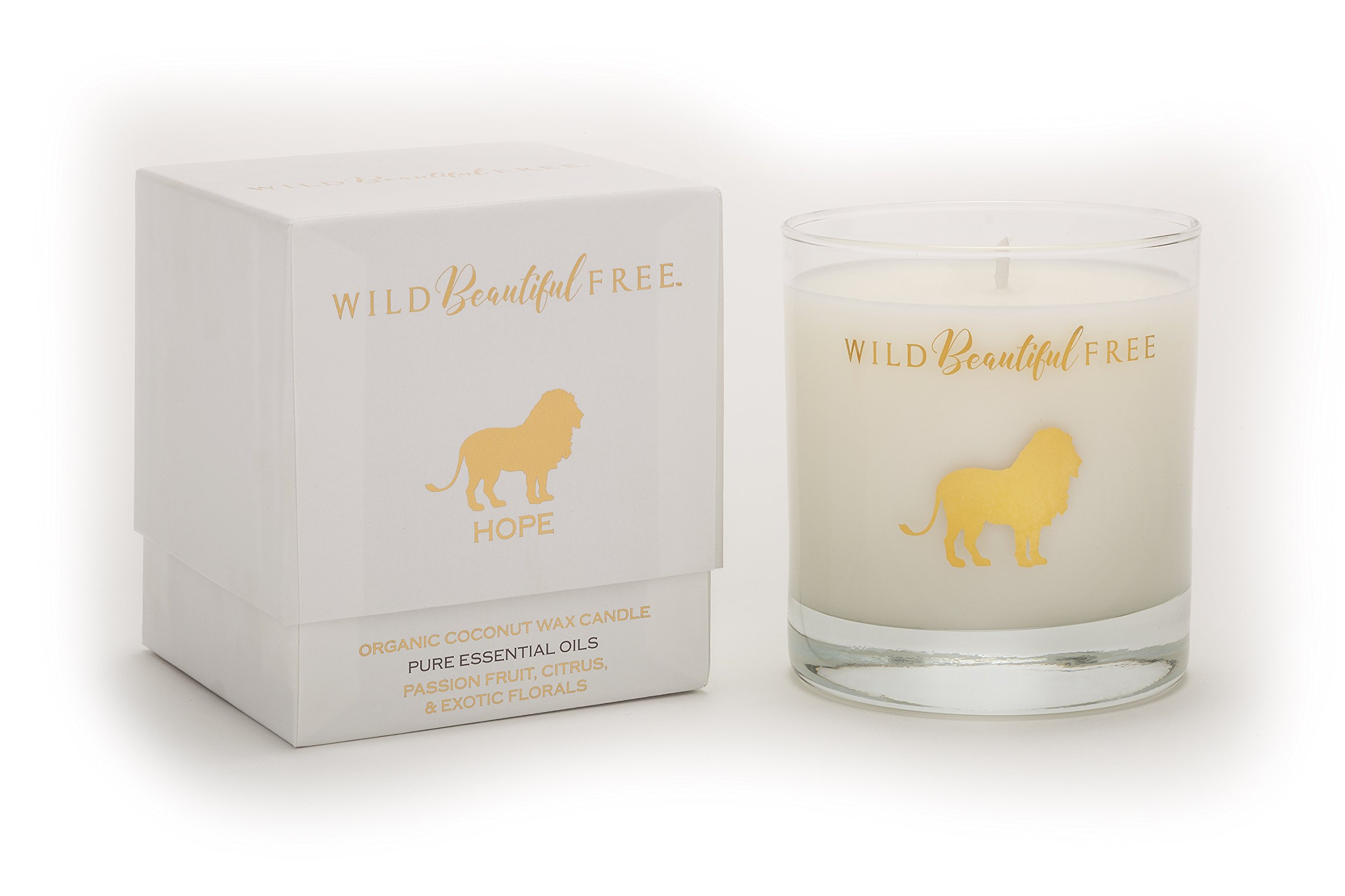 Wild Beautiful Free Citrus and Floral Organic Aromatherapy Candle with Pure Essential Oils for Energy and Motivation - Hope Lion Luxury Candle