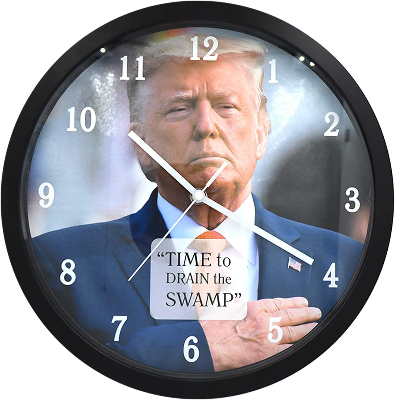 Patriot Gear Donald Trump Wall Clock 12 Time To Drain The Swamp Kitchen Dining