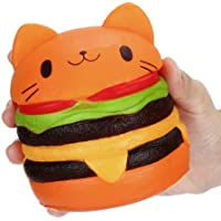 Yssabout Jumbo gato de dibujos animados hamburguesa perfumada lenta levantar exquisito niño juguete suave (naranja)