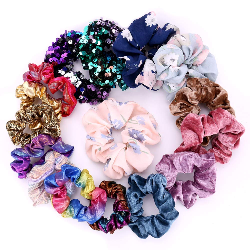 Hair Scrunchies Elastic Ponytail Holder - 18 Pcs Hair Elastics Ties include Chiffon Flower Hair Bands Shiny and Velvet Scrunchies for Women or Girls,18 Assorted Colors Scrunchies